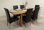 4ft 3&#34; x 3ft Rustic Oak Extending Dining Table + 6 Leather Scroll Back Dining Chairs (Black)