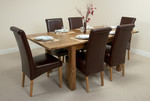4ft 3&#34; x 3ft Rustic Oak Extending Dining Table + 6 Leather Scroll Back Dining Chairs (Brown)