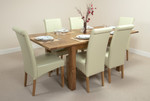 "4ft 3"" x 3ft Rustic Oak Extending Dining Table + 6 Leather Scroll Back Dining Chairs (Cream)"