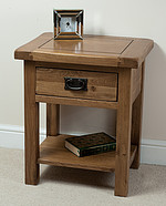 Rustic Solid Oak Lamp Table