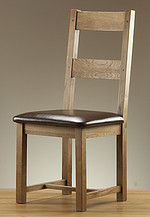Rustic Solid Oak and Leather Dining Chair