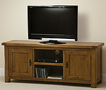 Rustic Solid Oak Widescreen TV + DVD Cabinet