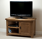 Rustic Solid Oak TV + DVD Cabinet