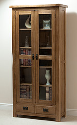 Rustic Solid Oak Glazed Display Cabinet