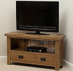Rustic Solid Oak Corner TV + DVD Cabinet