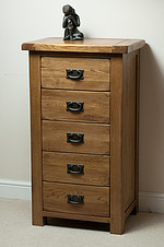Original Rustic Solid Oak 5 Drawer Chest