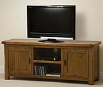 Original Rustic Solid Oak Widescreen TV Cabinet