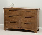 Orrick Rustic Solid Oak Wide 6 Drawer Chest
