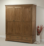 French Farmhouse Solid Oak Triple Wardrobe