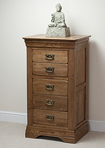 French Farmhouse Solid Oak 5 Drawer Chest