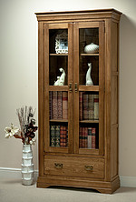 French Farmhouse Solid Oak Display Cabinet
