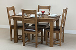 French Farmhouse Solid Oak 4ft Dining Table + 4 Rustic Oak Chairs