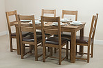 French Farmhouse Solid Oak 5ft Dining Table + 6 Rustic Oak Dining Chairs