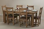 French Farmhouse Solid Oak 6ft Dining Table + 6 Rustic Oak Dining Chairs