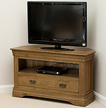 French Farmhouse Solid Oak Corner TV Cabinet