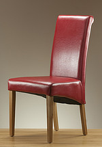 Scroll Back Leather Dining Chair with Oak Legs (Red)