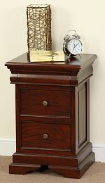 Sleigh Solid Mahogany 3 Drawer Bedside Table