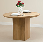 Solid Oak Round Table with Cube Base