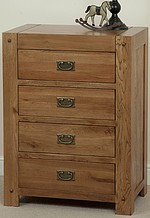 Quercus Solid Oak 4 Drawer Tall Chest