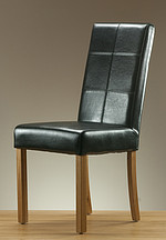 Stitch Back Leather Dining Chair with Oak Legs (Black)