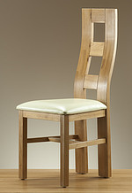 Wave Back Solid Oak and Cream Leather Dining Chair