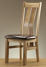 Arched Back Solid Oak and Leather Dining Chair