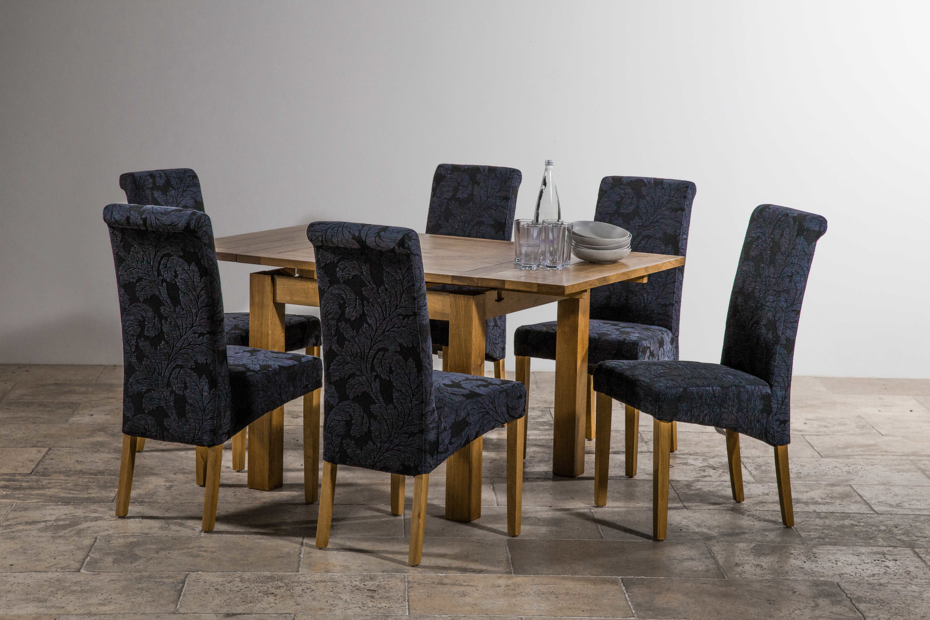 Navy Blue Dining Table: 3ft X 3ft Rustic Solid Oak Extending Dining Table (Seats