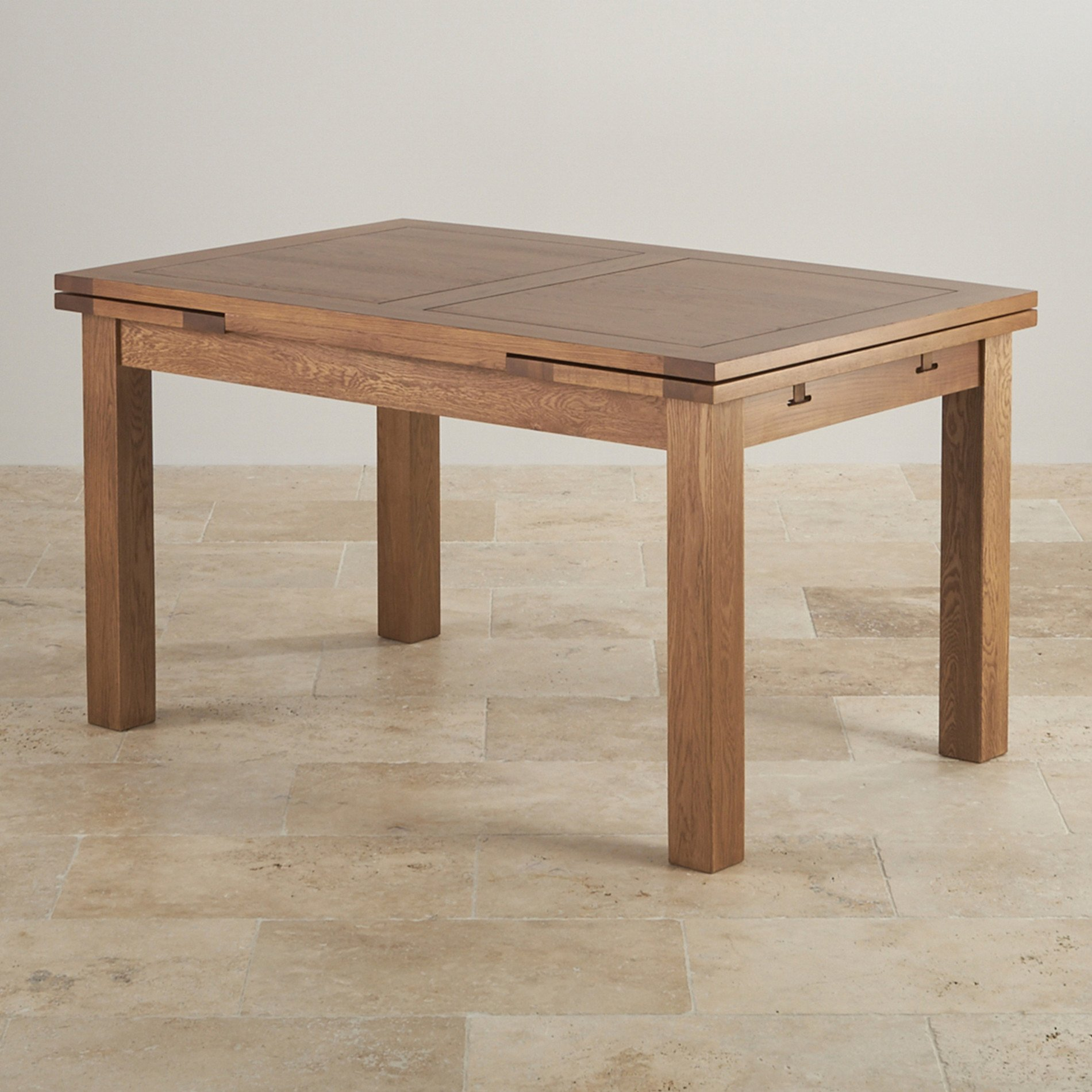 4ft 7 X 3ft Rustic Oak Extending Dining Table