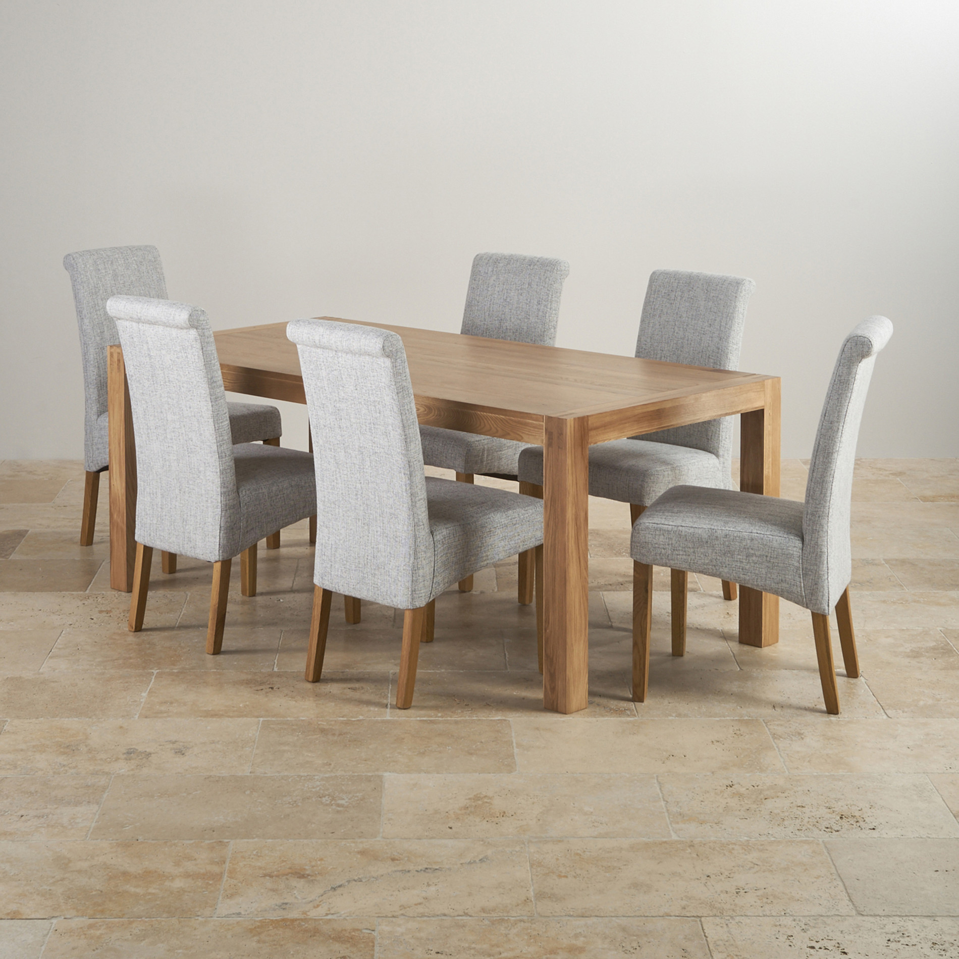 Alto Solid Oak 6ft Dining Table With 6 Grey Fabric Chairs. Full resolution  image, nominally Width 1900 Height 1900 pixels, image with #8A6541.