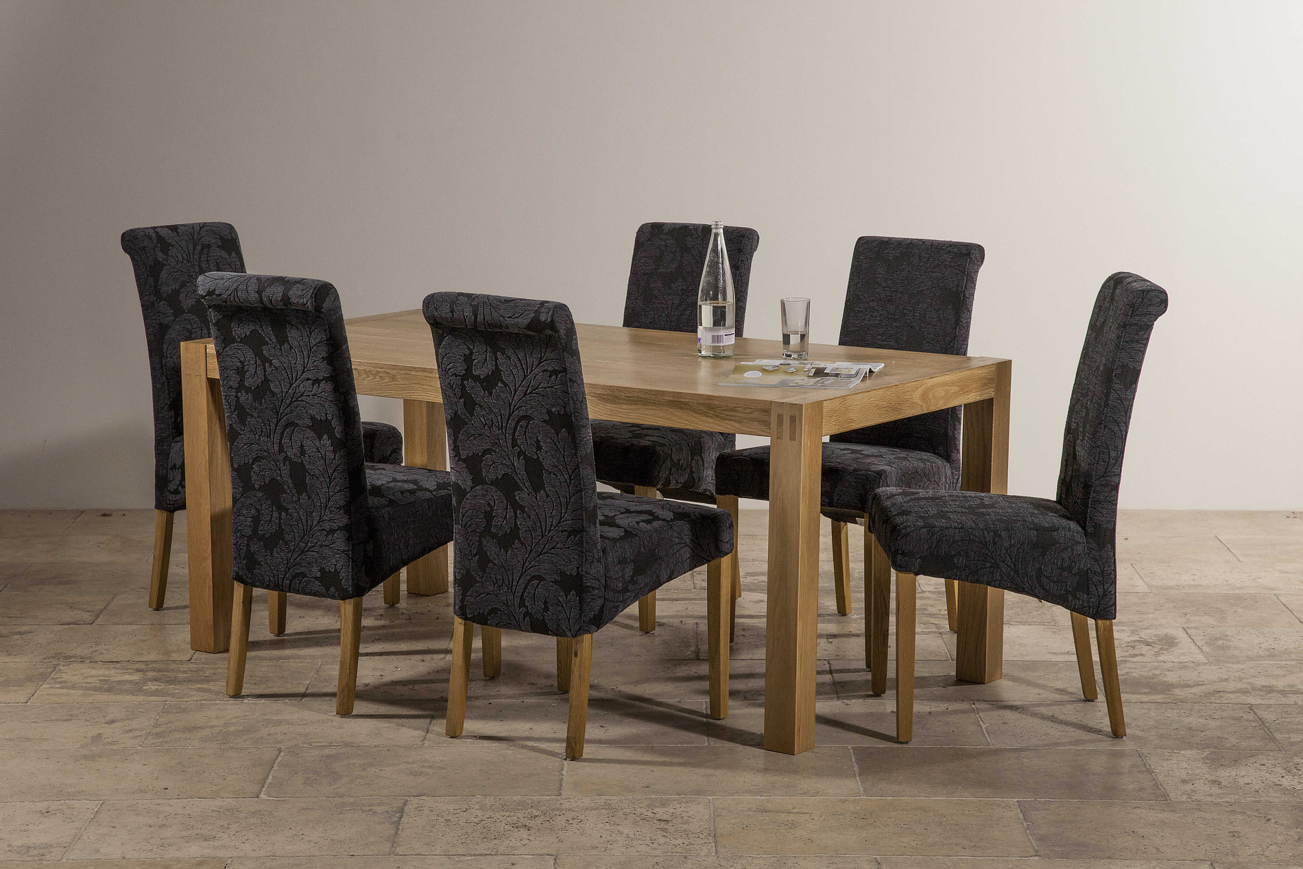 Navy Blue Dining Table: Alto Solid Oak 6ft X 3ft Dining Table + 6 Scroll Back