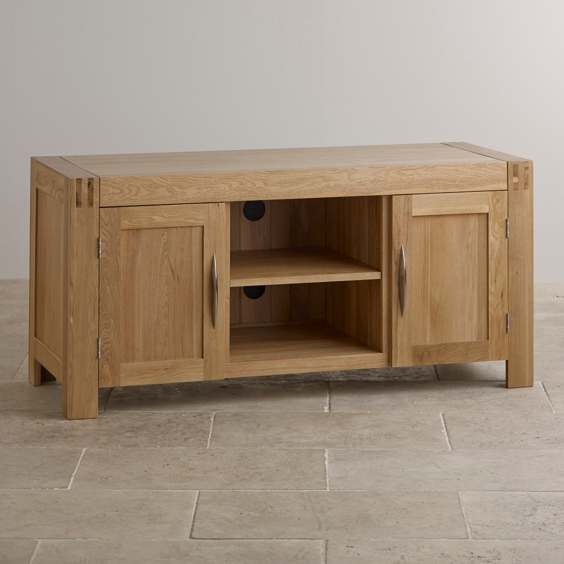 alto natural solid oak widescreen tv cabinet living room