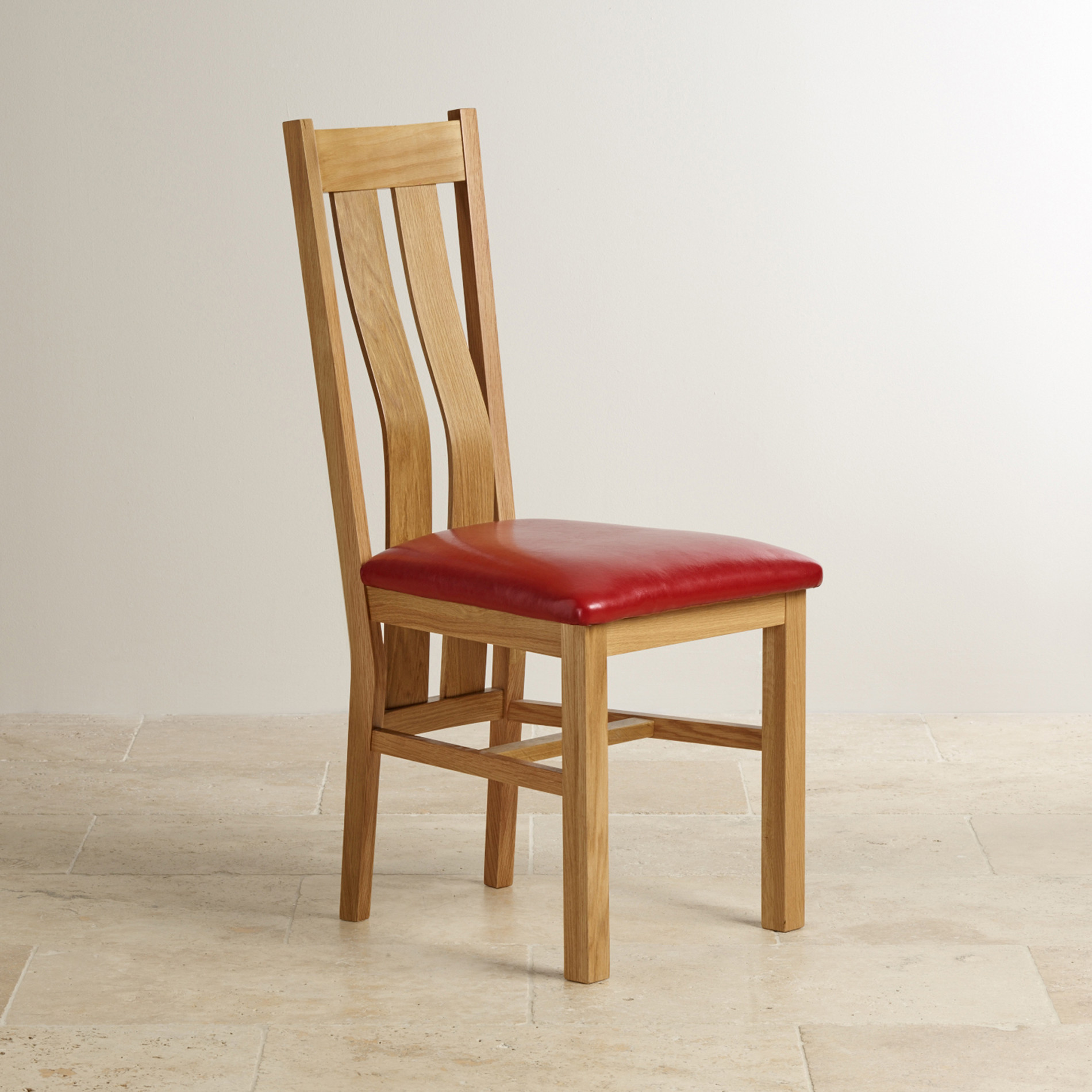 Arched back natural solid oak and red leather dining chair for Oak dining chairs