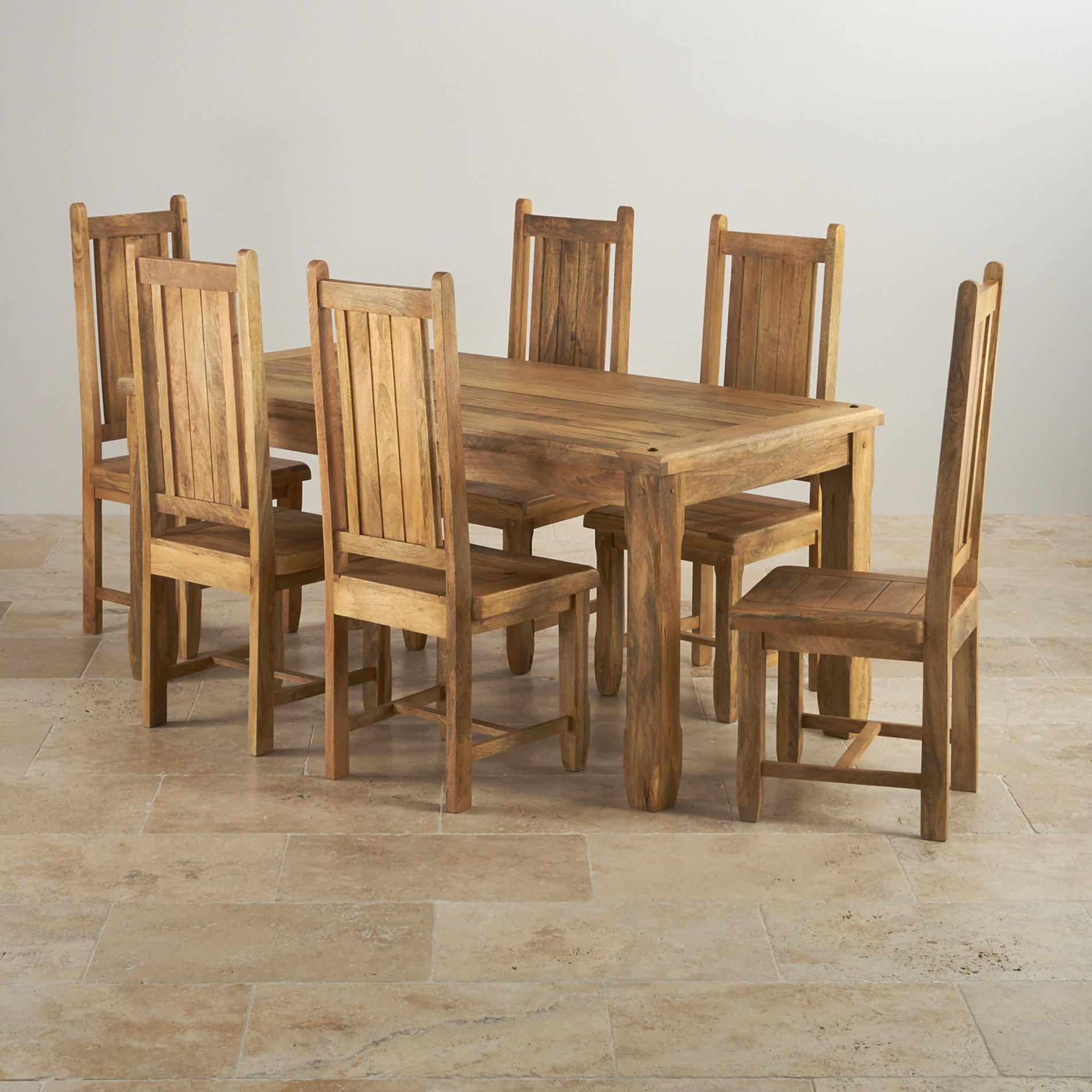 Amazing photo of Baku Light Natural Solid Mango 5ft 6 Dining Table   6 Wooden Chairs with #4B3218 color and 1900x1900 pixels