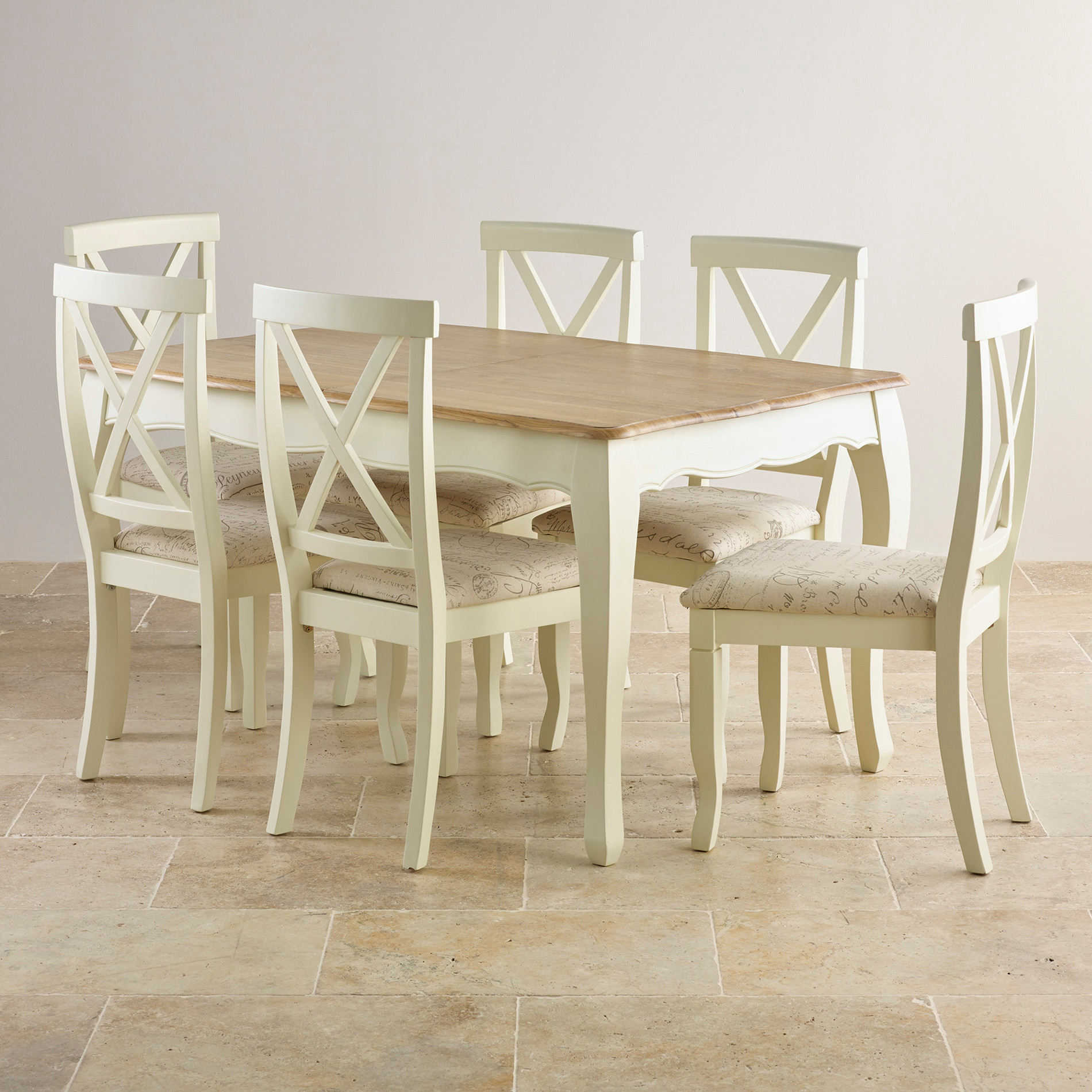 """Painted Dining Room Sets: Bella Brushed Oak And Painted 4ft 7"""" Extending Dining Set"""