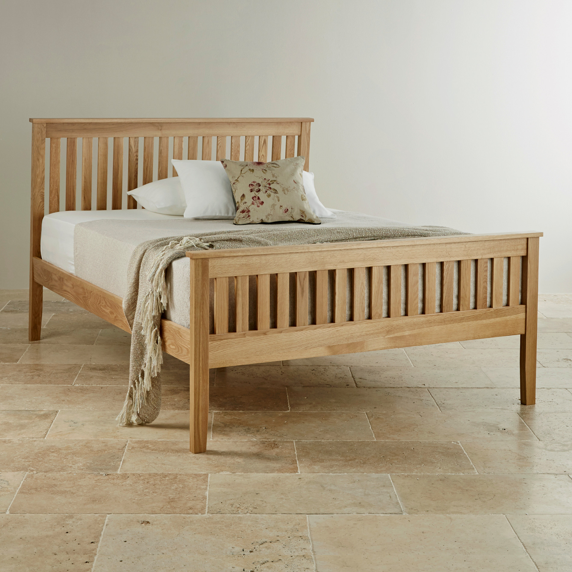 Cairo Natural Solid Oak King Size Bed Bedroom Furniture