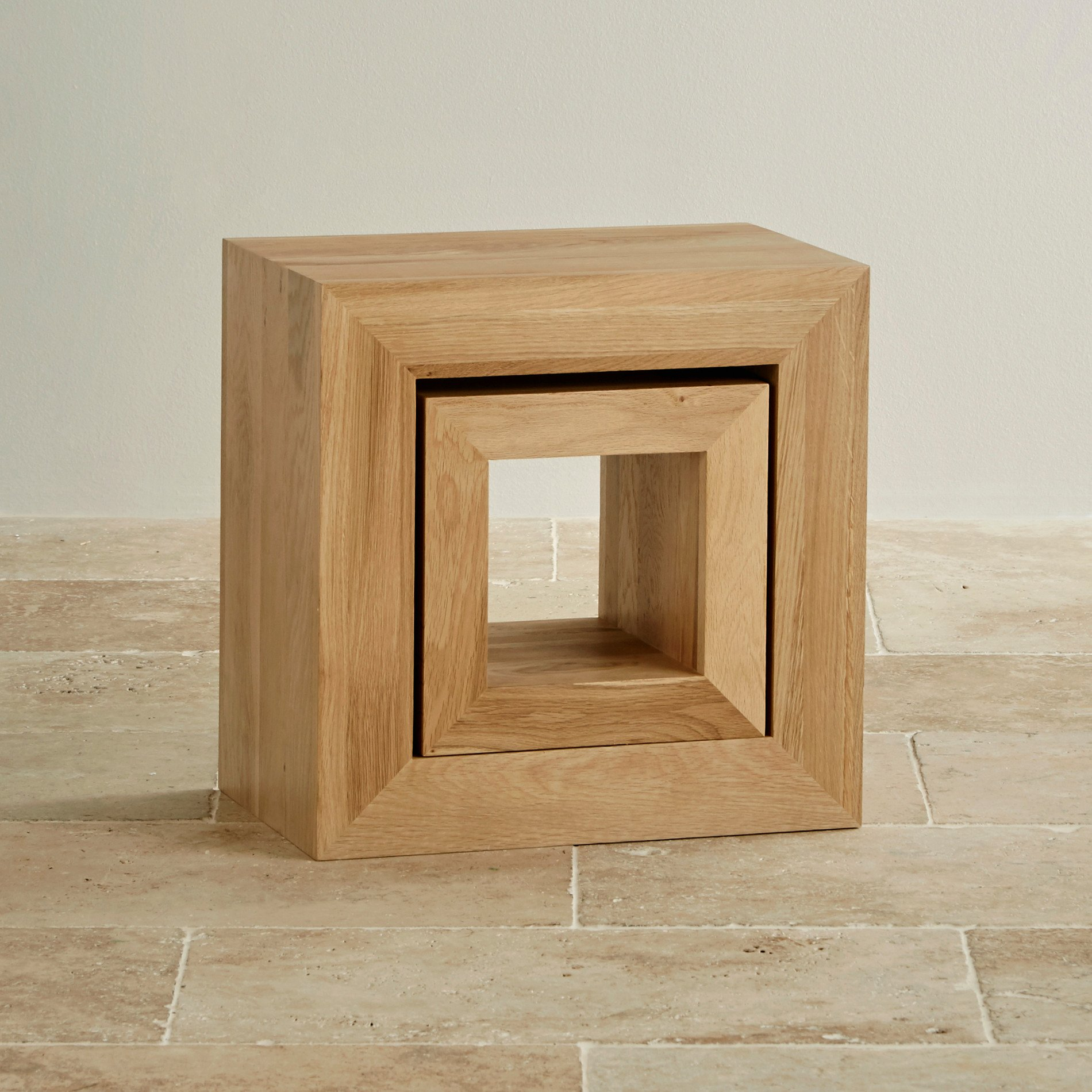 Cairo Natural Solid Oak Set Of 2 Cube Nest Tables