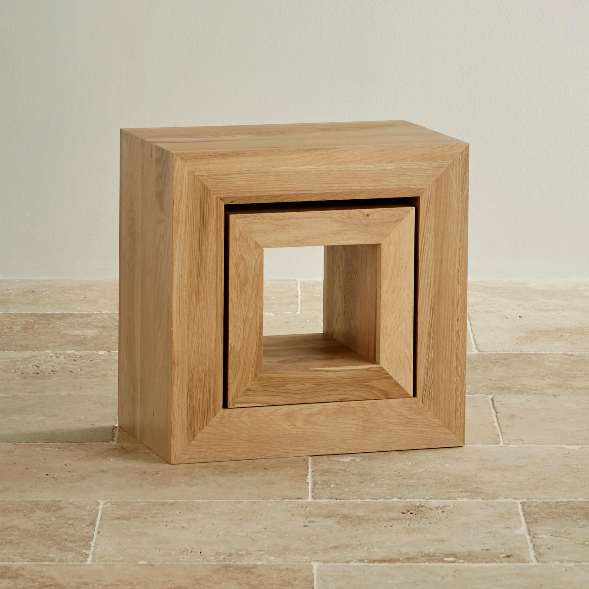 cairo natural solid oak set of 2 cube nest of tables. Black Bedroom Furniture Sets. Home Design Ideas