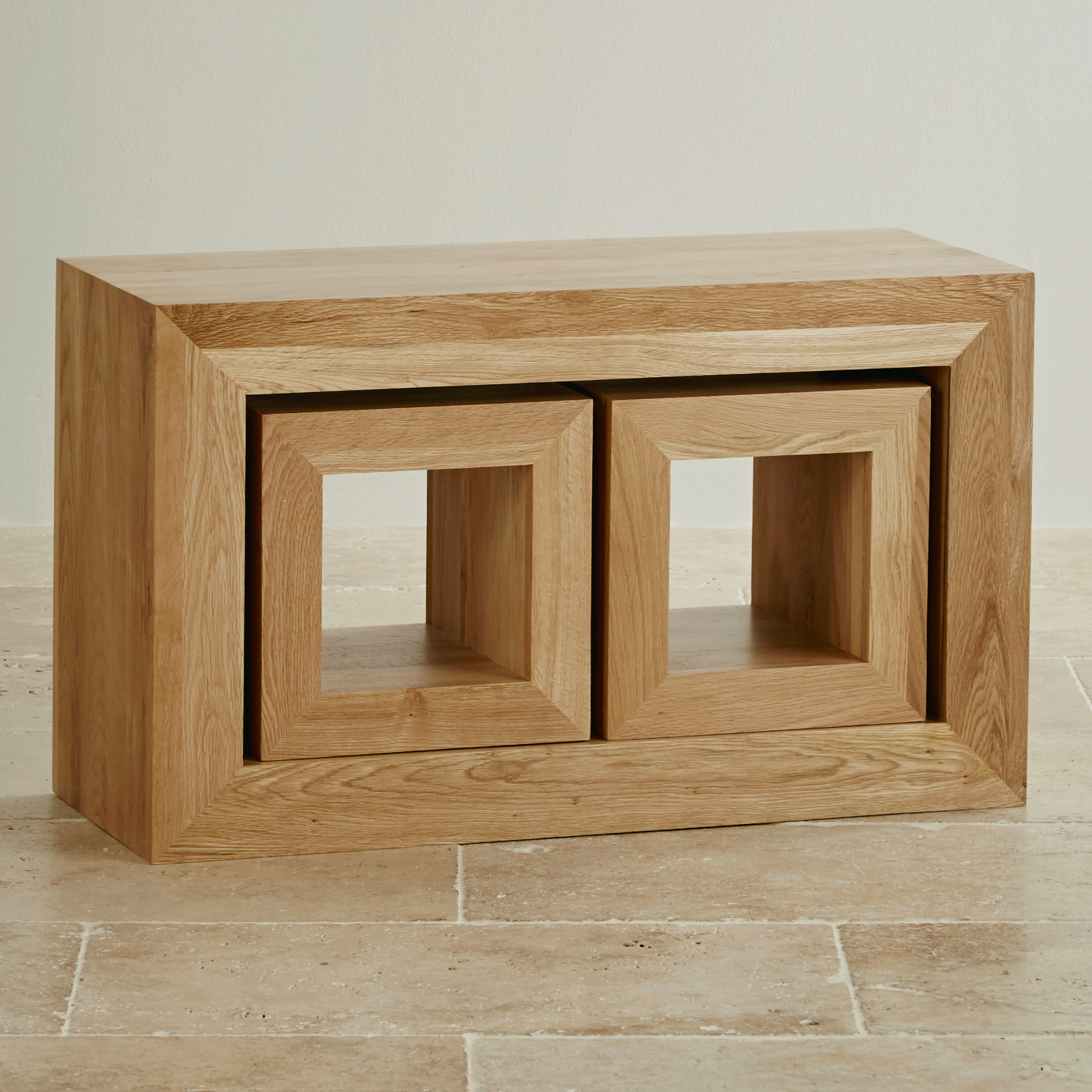 Cairo Natural Solid Oak Set Of 3 Cube Nest Of Tables Oak Living ...