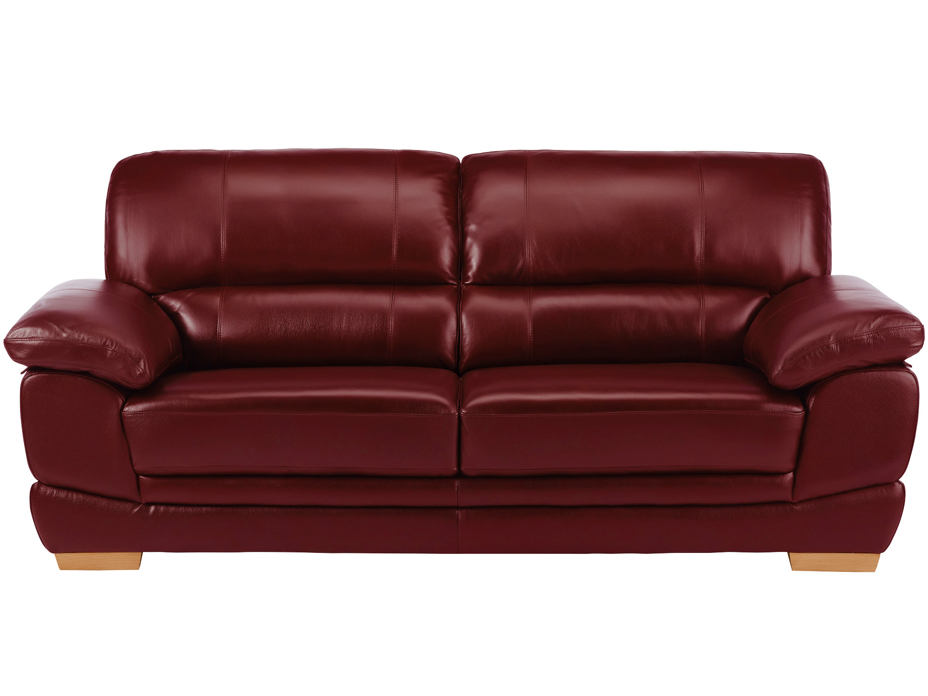 Cameron Burgundy Leather 3 Seater Sofa