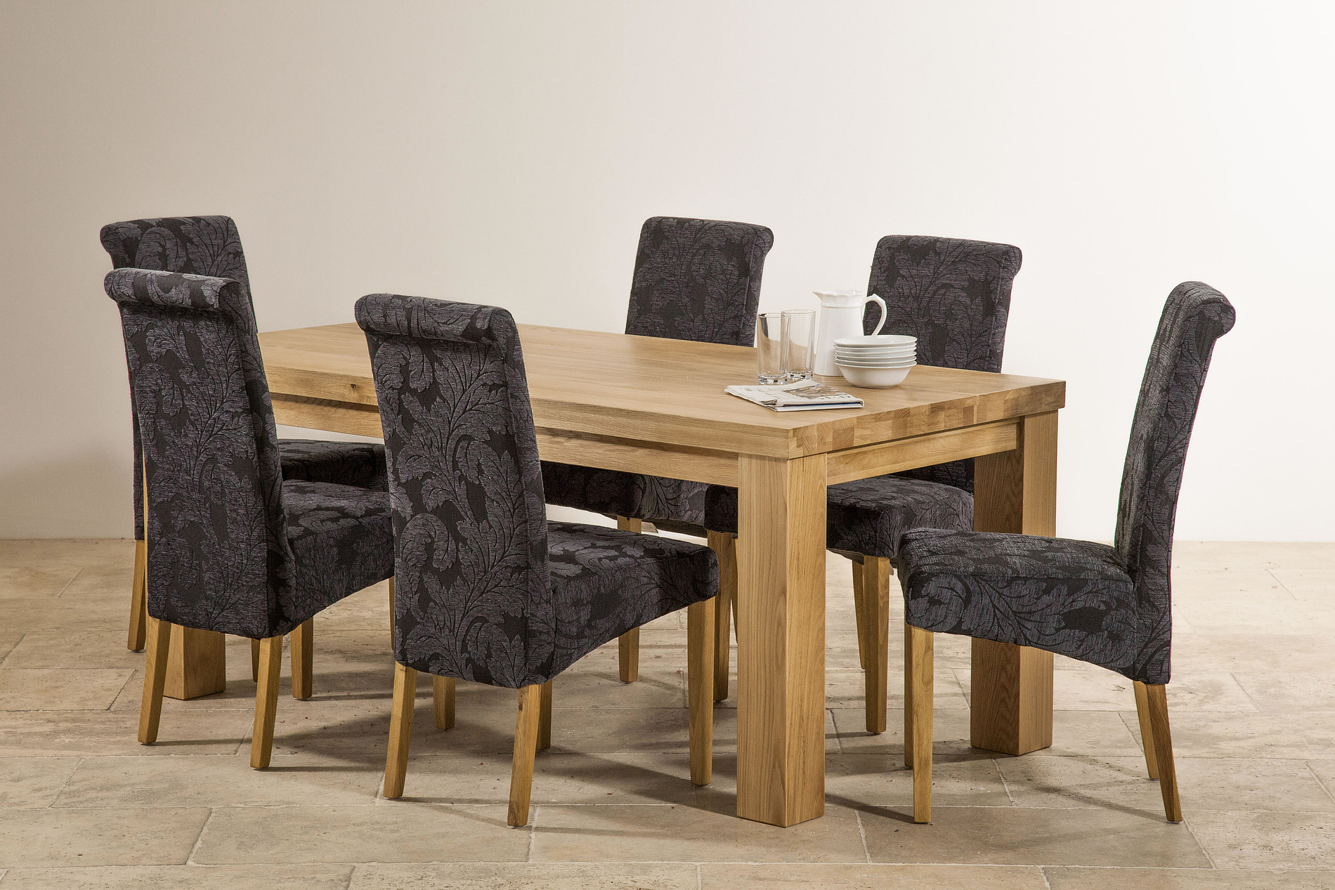 Navy Blue Dining Table: Contemporary Chunky 6ft X 3ft Natural Solid Oak Dining