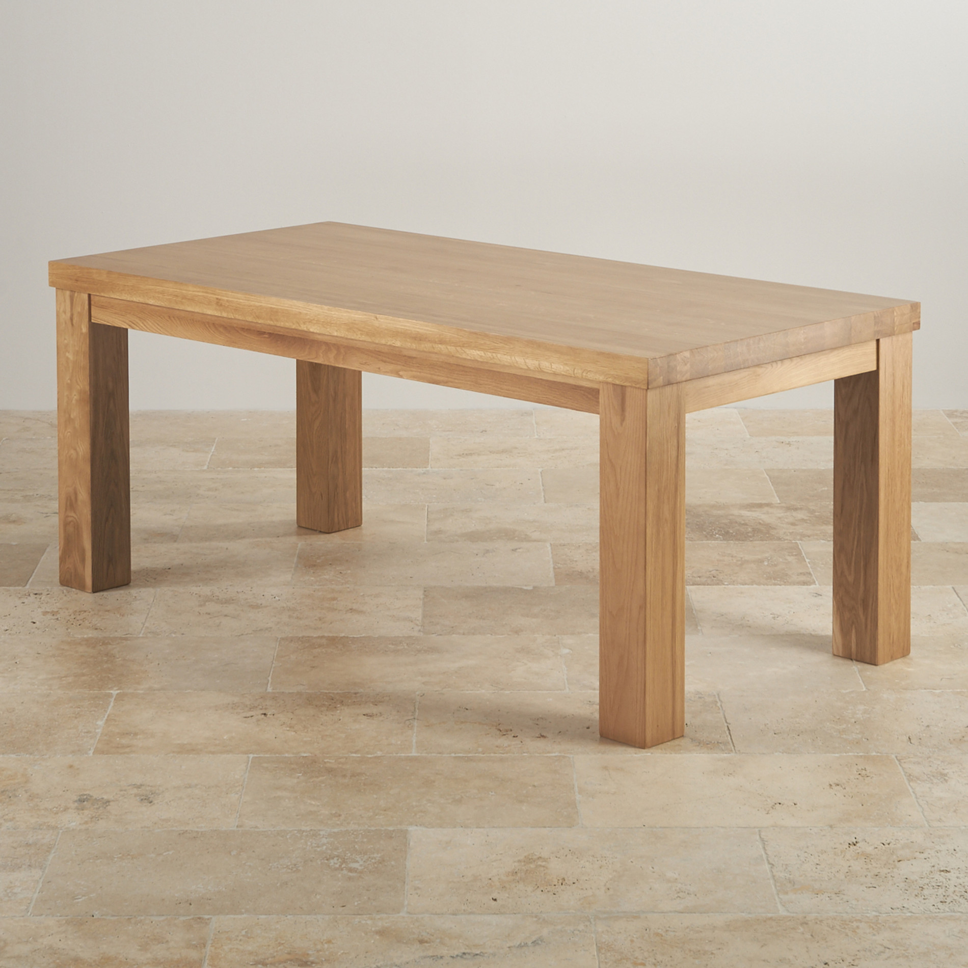 Wood dining tables contemporary chunky 6ft solid oak for Solid oak dining table