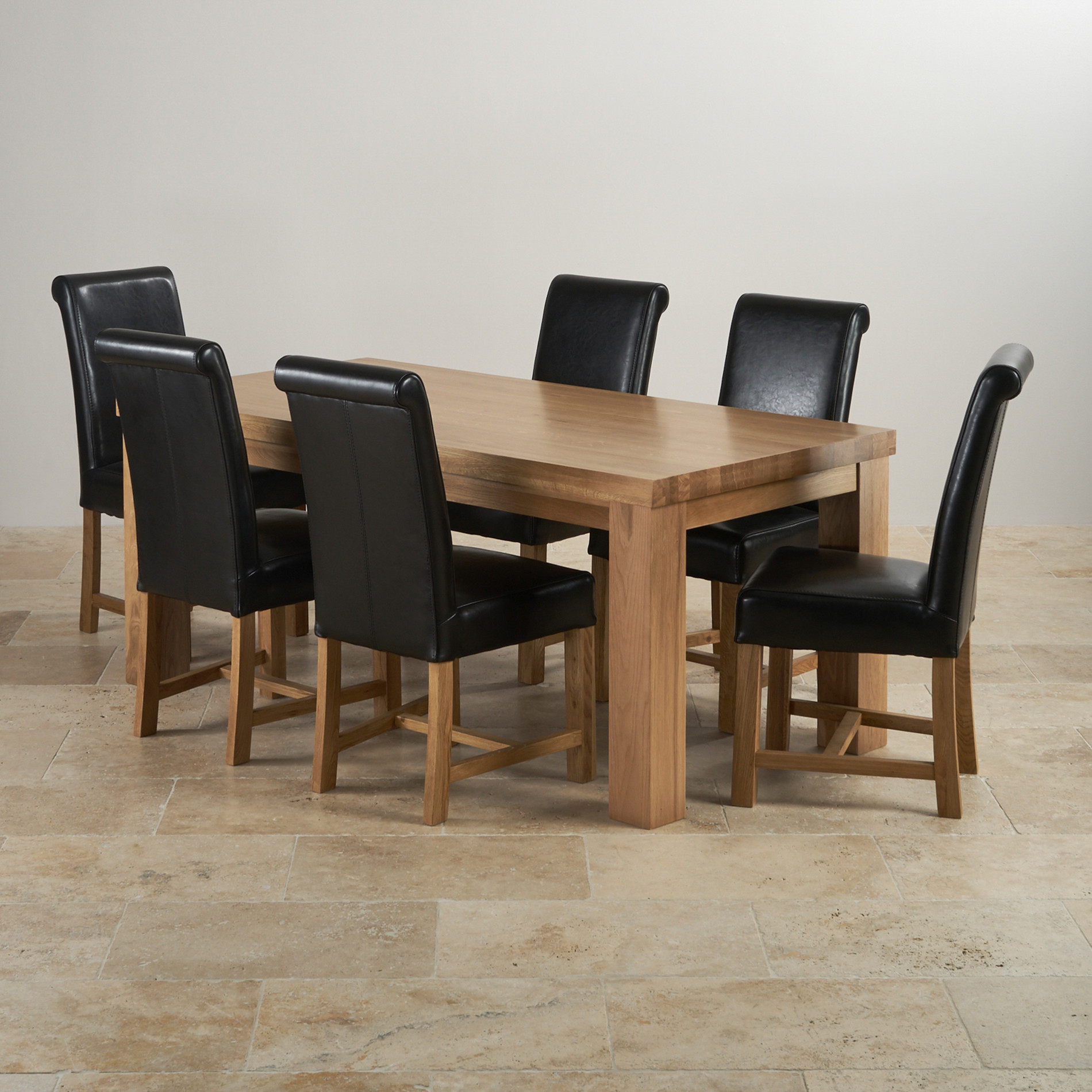 chunky dining table and chairs  contemporary chunky natural solid oak dining set ft table with  braced scroll back black leather chairs ffeaccab