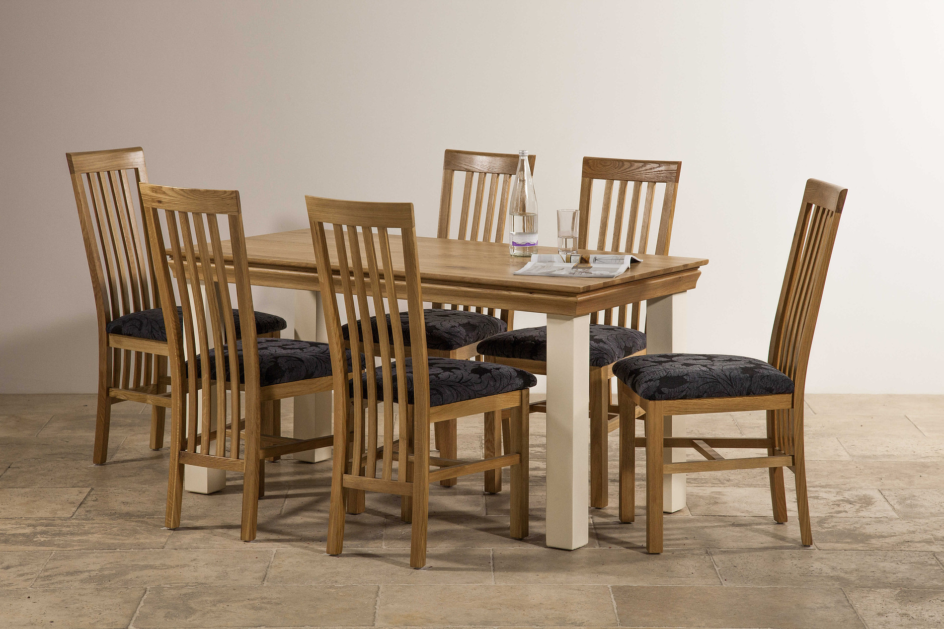 Country cottage natural oak and painted 5ft dining table - Natural oak dining table and chairs ...