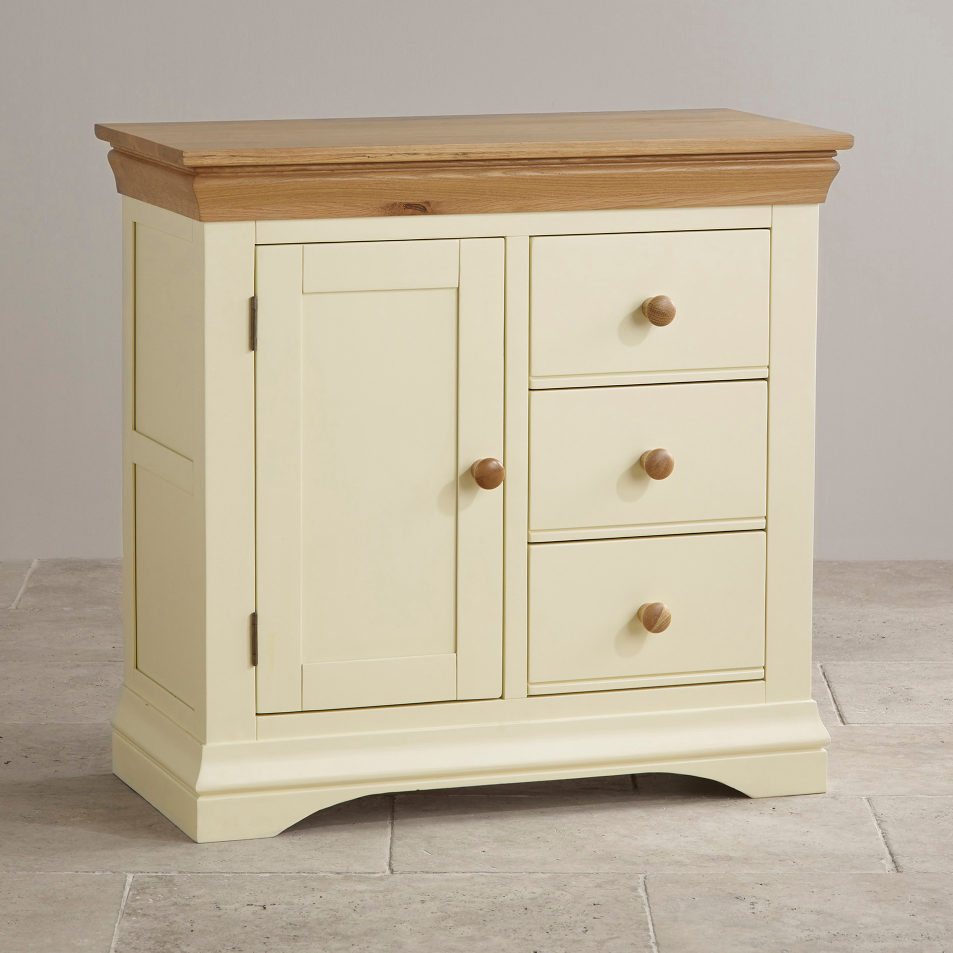 Oak And White Shoe Cabinet