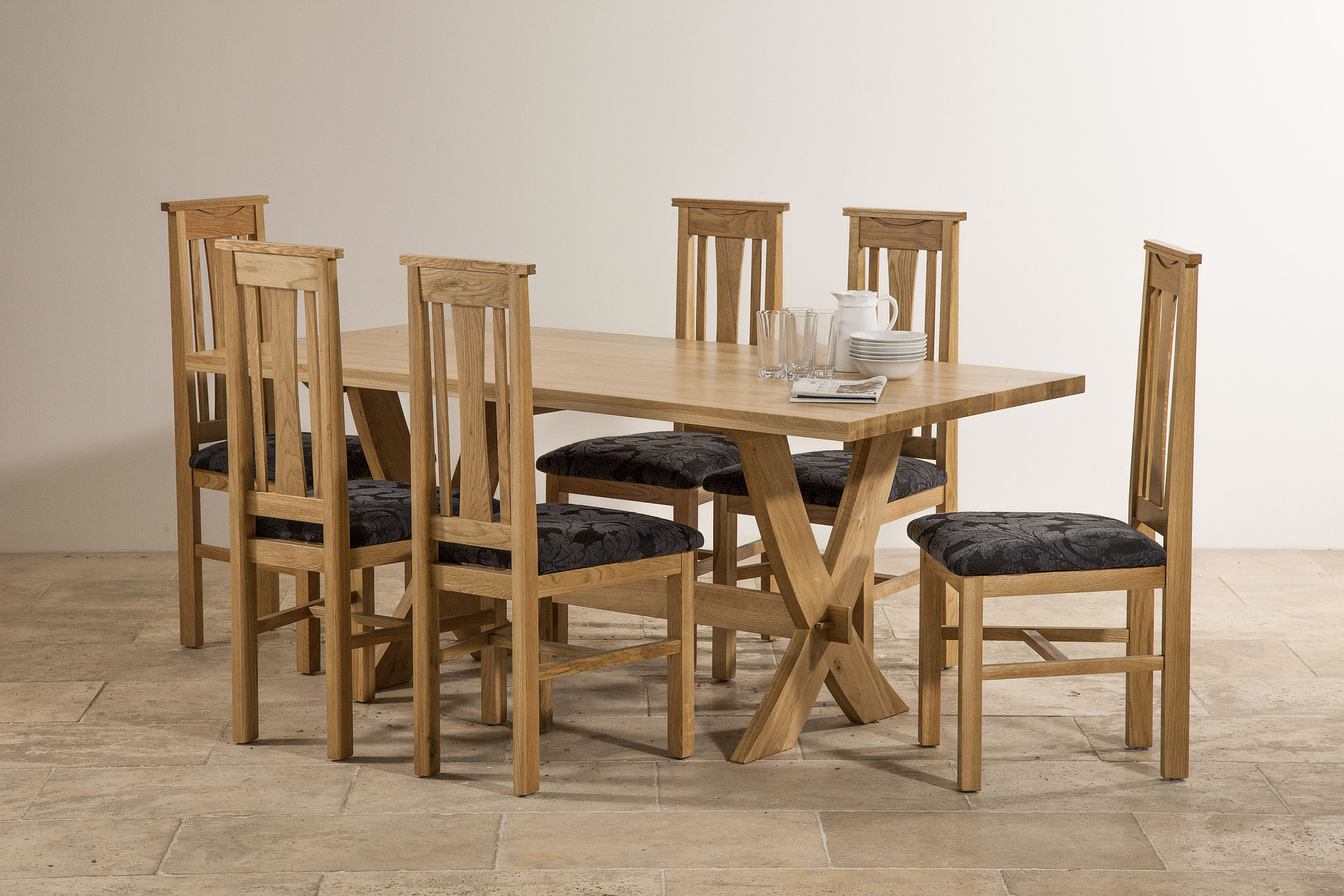 Crossley 6ft x 3ft natural solid oak crossed leg dining table 6 tokyo solid oak and blue - Crossed leg dining table ...
