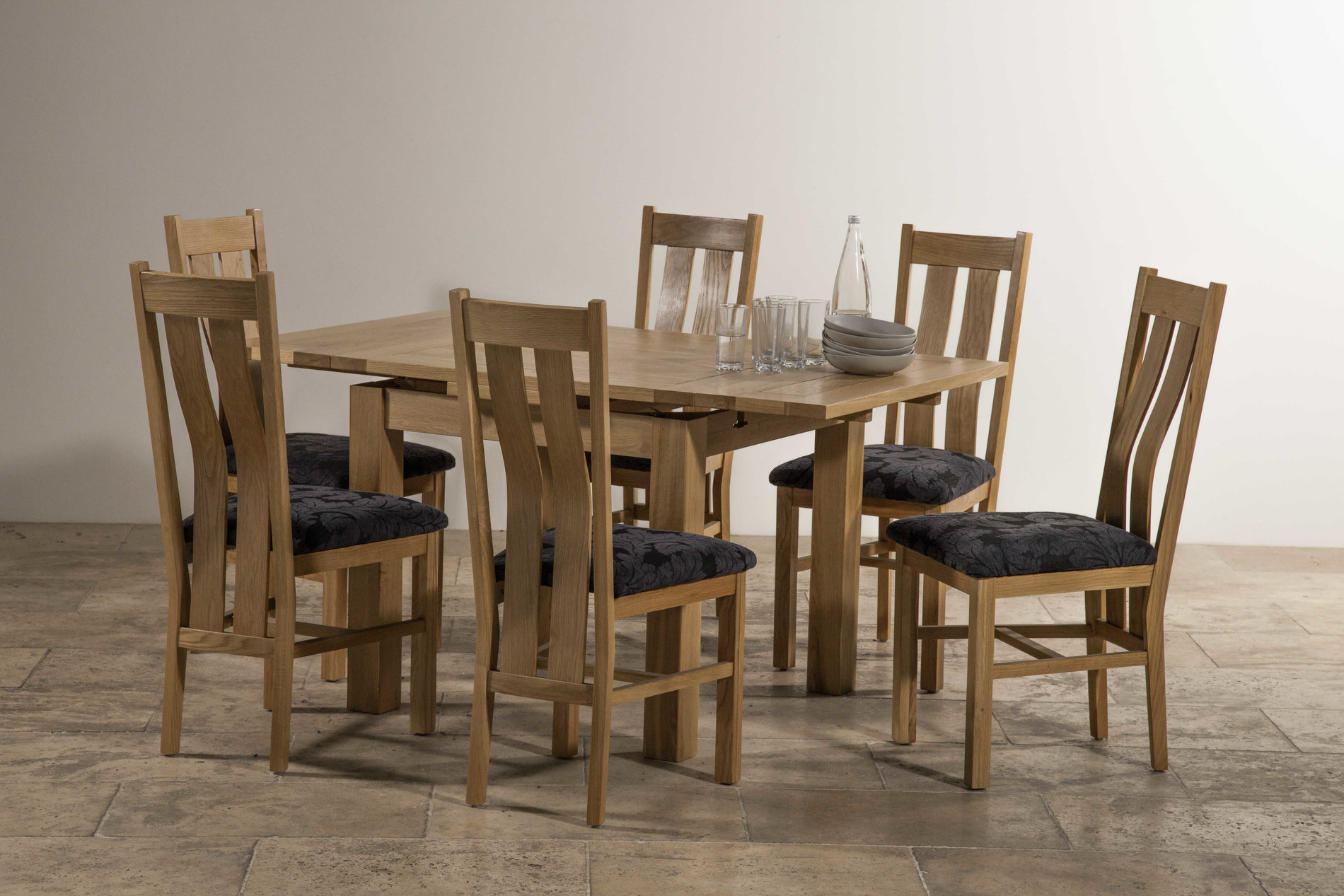 Dorset 3ft x 3ft Natural Solid Oak Extending Dining Table  : dorset 3ft x 3ft natural solid oak extending dining table seats up to 6 people extended 6 scroll back patterned navy blue fabric chair with solid 54b3bbd6da6d7 from www.oakfurnitureland.co.uk size 1900 x 1267 jpeg 468kB