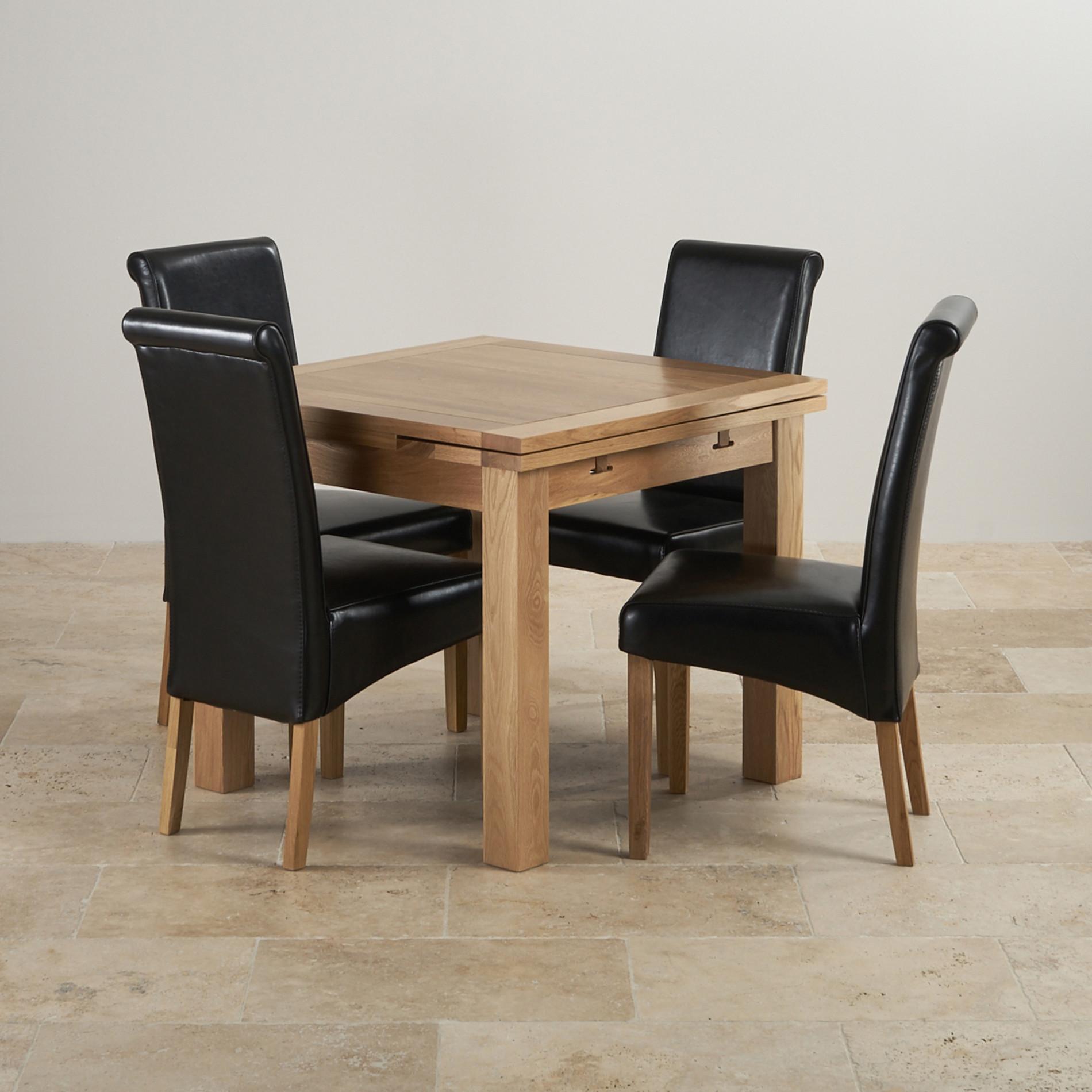 dorset 3ft extending solid oak dining set with 4 black