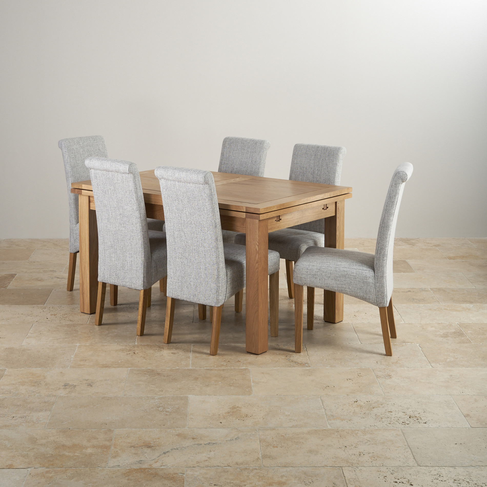 Dorset Oak Dining Set 4ft 7 Table With 6 Chairs. Full resolution  image, nominally Width 1900 Height 1900 pixels, image with #8A6741.