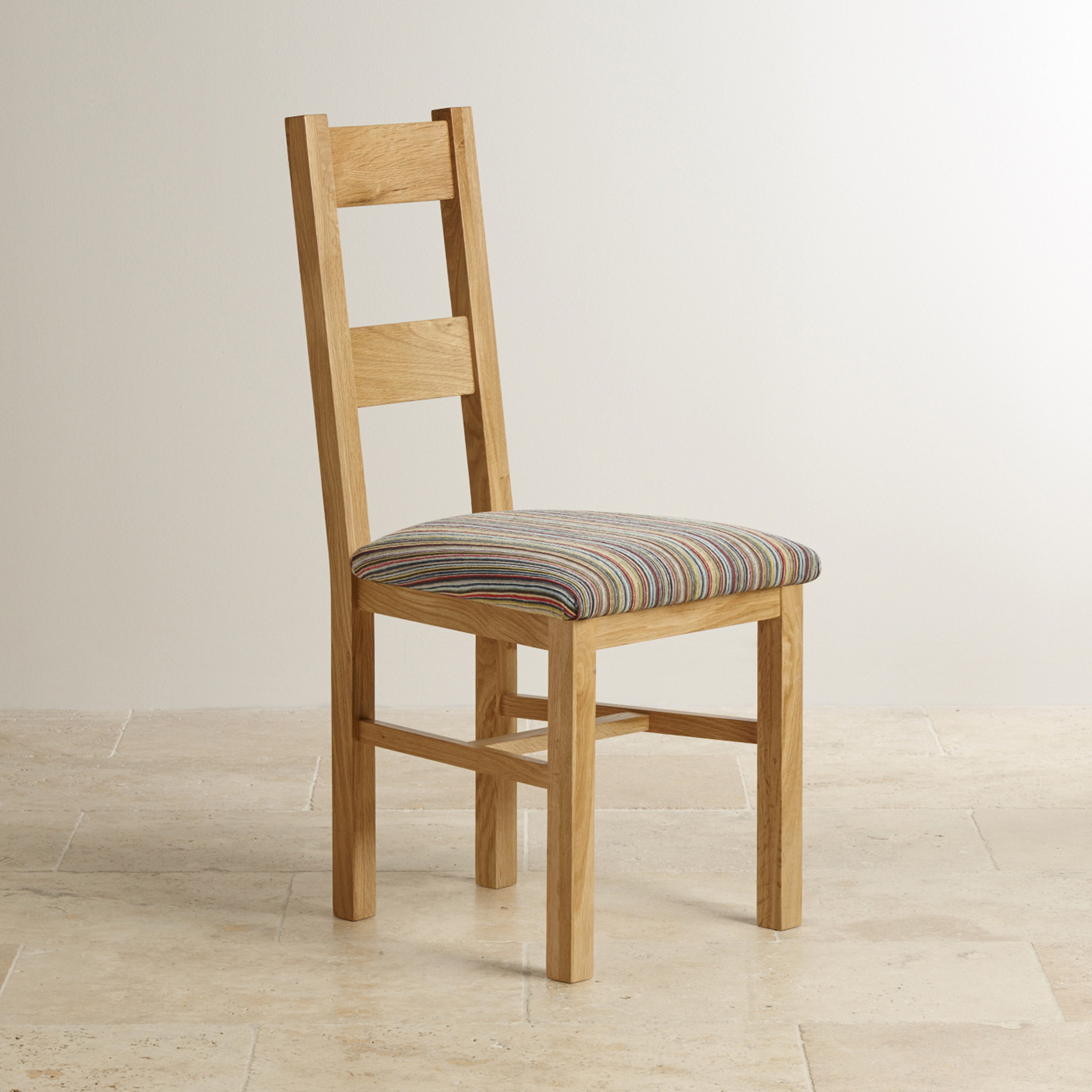Farmhouse natural solid oak and multi striped patterned for Multi coloured fabric dining chairs