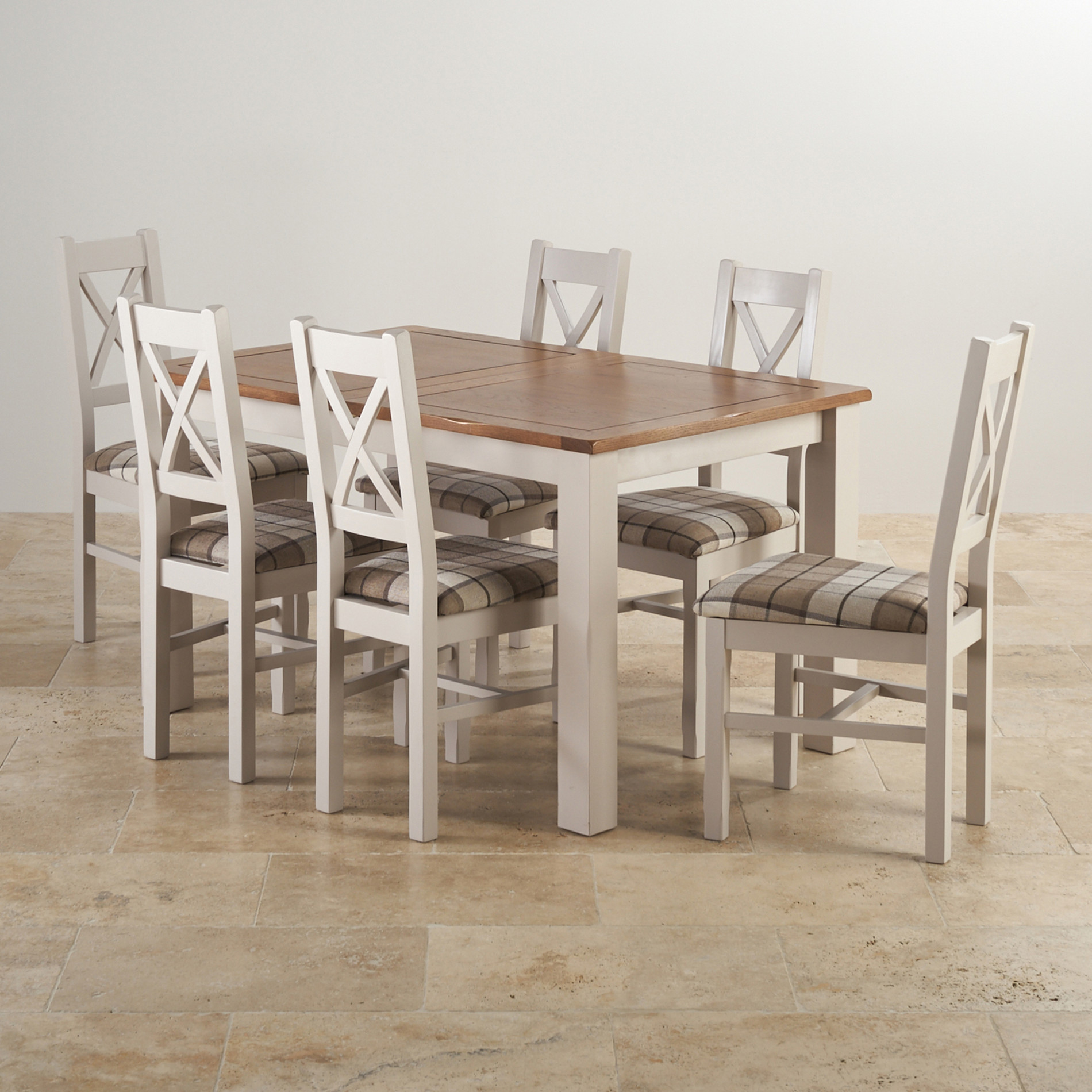 Rustic solid oak and painted dining set with six chairs